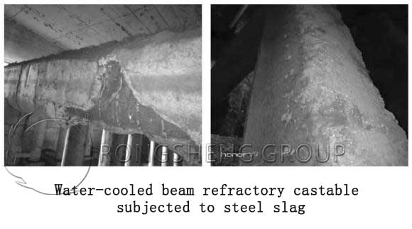 Water-Cooled Beam Refractory Castable Subjected to Steel Slag